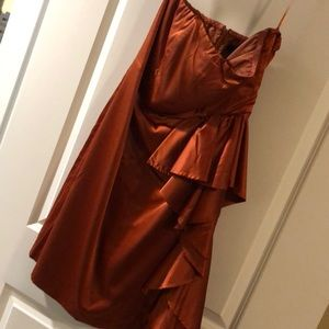Burnt orange strapless dress